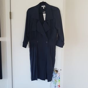LACOSTE 100% SILK LONG SLEEVE NAVY MIDI DRESS SZ42